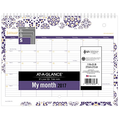 "AT-A-GLANCE Wall Calendar 2017, Monthly, 11 x 8-1/2"", Mini, Wirebound (W1840)"