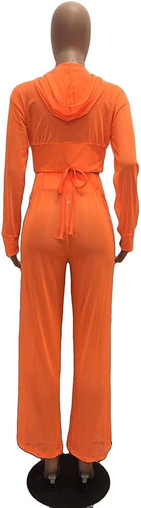 Halfword Womens See Though Sheer Mech Hoodies Crop Top Pants Set 2 Piece Outfits