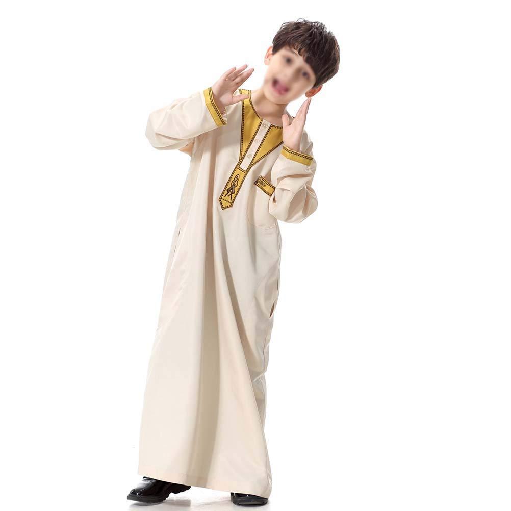 TENDYCOCO Arabische Kleidung für Männer muslimische Kinder Abaya Stehkragen Ropa De Dubai Arabe Djellaba Langarm für Jungen TH872 - Größe XL (Beige) B07NPBFVTL Verkleiden & Kostüme Schenken Sie Ihrem Kind eine glückliche Kindheit