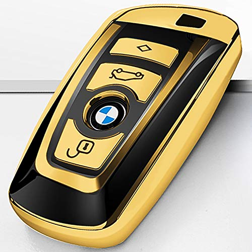 Intermerge for BMW Key Fob Cover, Soft TPU Key Case Shell Pouch for BMW 1 3 4 5 6 7 Series and X3 X4 M5 M6 GT3 GT5 Keyless Entry Key Cover-Gold