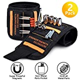 Magnetic Wristband Best Gifts For Men, 2 Pack Magnetic Tool Belt for Men Gift, 15 Super Strong Magnets, Wrist Tool Holder for Holding Screws, Nails, Drill Bits, Best Gift for Men, Dad, DIY Handyman.