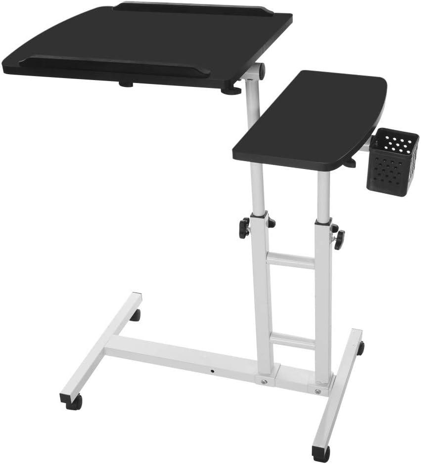 Laptop Desk,Vanvler Turn Lift Sit-Stand { Adjustable Laptop Table } Multifunction Computer Desk Cart (New Black)