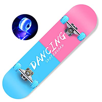 "LINGLING 31""X 8"" Skateboard Youth Beginner Short Board with Flashing Lights Double Kick concave Maple Deck Professional Four Wheel Scooter Brush Street Travel: Home & Kitchen"