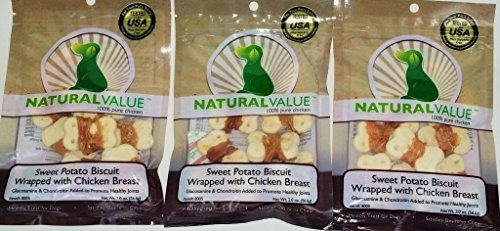 3 Pack - Natural Value Sweet Potato Biscuit Wrapped With Chicken Breast