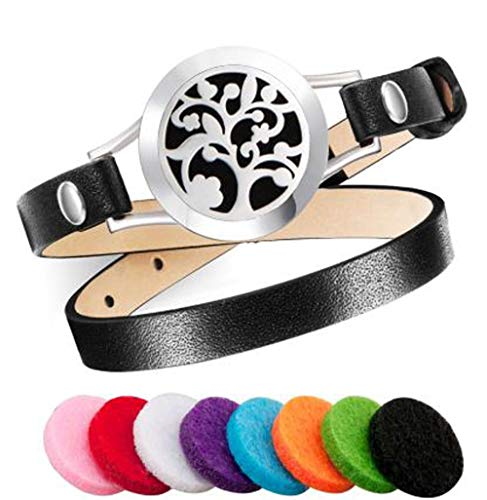 Digitrends Aromatherapy Essential Oil Diffuser Leather Bracelet Stainless Steel Locket with 8 Washable Reusable Color Pads for Girls and Women. (Black)