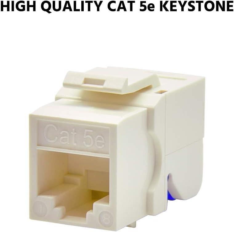 50-Pack, White Beszin Cat.5E Tool Less Keystone Jack