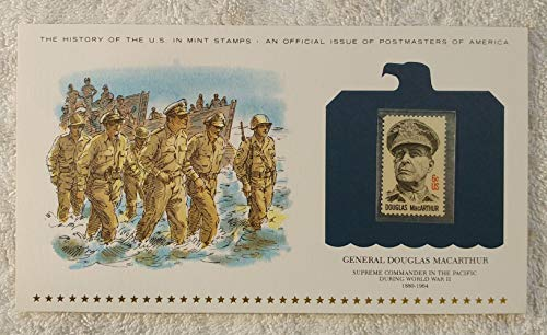 General Douglas MacArthur - Supreme Commander in the Pacific During World War II - Postage Stamp (1971) & Art Panel - History of the United States: an official issue of Postmasters of America - Limited Edition, 1979 - WWII