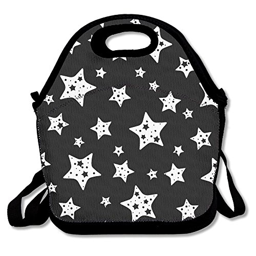 Black And White Star Insulated Lunch Bag Picnic Lunch Tote For Work, Picnic, Travelling