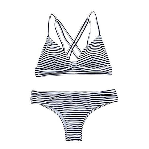 72174e5bae278 85%OFF Cupshe Fashion Women s Hit Summer Stripe Bikini Set Beach Swimwear  Bathing Suit