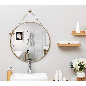 Specchio Bagno A Farfalla.Specchio Da Parete Rotondo In Metallo Con Specchio A Forma Di