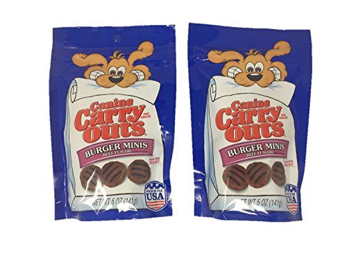 Canine Carry Outs Burger Minis Dog Treats Bundle Set of 2