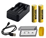 Leogizer 2xPCS 18650 High Drain Lithium ion Battery and Charger Set 3.7V Li-ion Rechargeable 2500mAh Max.35A Peak / 20A Continuous Discharge, Independent 2xBays 1.5A USB Charger