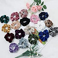 Admitrack 18 Pcs Hair Scrunchies Velvet Elastic Hair Bands Scrunchy Hair Ties Ropes Scrunchie for Women or Girls Hair Accessories - 18 Colors