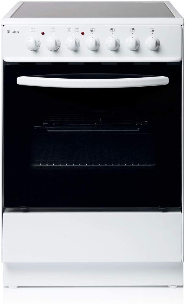 Haden HEC60W Electric Cooker 60cm Freestanding 64 Litre Oven with 4 Zone Ceramic Hob White Single Cavity Electric Cooker