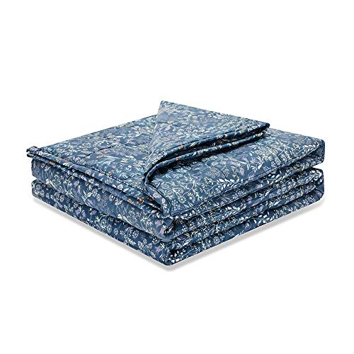 Weighted Idea Cool 12 lbs Weighted Blanket (48''x78'', Navy Blue Flower)