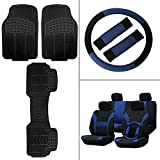 Scitoo 14-PCS Front Rear Car Floor Mats Blue/Black Car Seat Cover W/Belt Pads/Steering Wheel Cover for Heavy Duty Vans Trucks