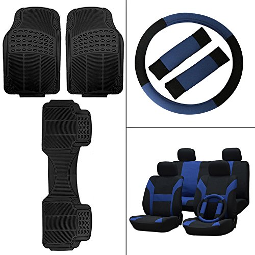 Scitoo 14-PCS Front Rear Car Floor Mats Blue/Black Car Seat Cover W/Belt Pads/Steering Wheel Cover for Heavy Duty Vans Trucks by Scitoo