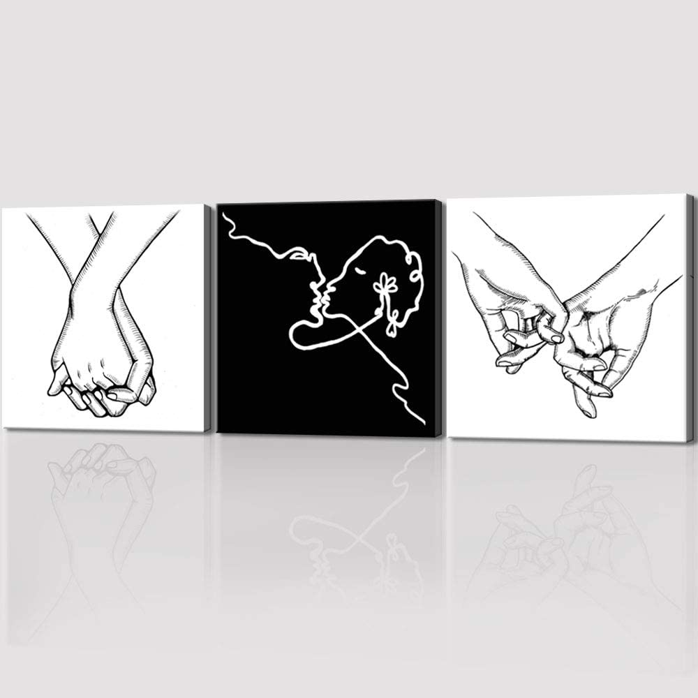 Amazon Com Black And White Wall Art Love And Hand In Hand Wall Art Canvas Print Poster Minimalist Bedroom Decor For Couples Sketch Art Line Drawing Modern Canvas Art Aesthetic Art For Living