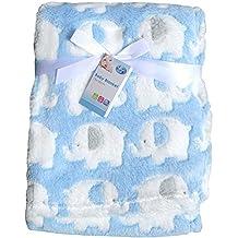 First Steps Newborn Soft Fleece Baby Blanket Blue With Elephant Design