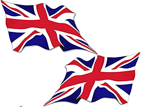 American Vinyl Set of 2:1 Right UK British Britain Wave 1 Left Waving Union Jack Flags Sticker