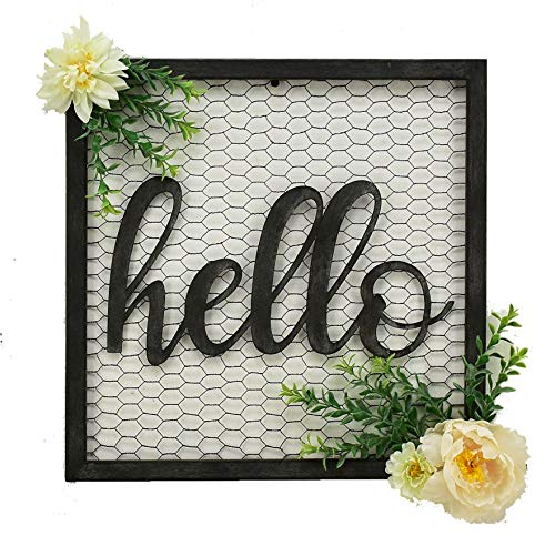(Parisloft Hello Script Metal Sign Decor Wall Art for Gallery Wall or Front Door Entryway Square Metal Wall Hanging Art Sign 15.7 x 15.7 x 1.4 Inches Black)
