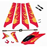 Red Syma S107 S107G Replacement Parts Main Rotor Blades, Tail Decoration, Balance Bar, Tail Blades, Connect Buckle Head Cover Canopy Package Kit Helizone RC Firebird