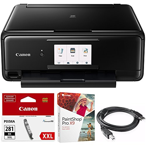 Canon PIXMA TS8120 Wireless Inkjet All-in-One Printer with Scanner & Copier Black (2230C002) Black Printer Ink, Corel Paint Shop Pro X9 Digital Download & High Speed 6-foot USB Printer Cable (Canon Inkjet Copiers)