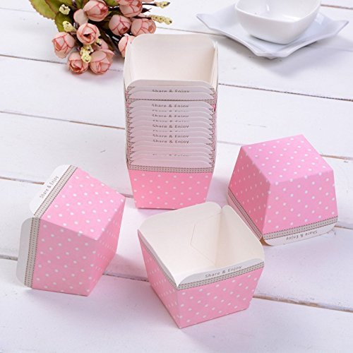 Pink Ice Cream Dots - 100pcs/lot, New Arrival Beautiful Candy Cups or Ice Cream Holder Pink with White Polka Dots Square Cupcake Baking Cups
