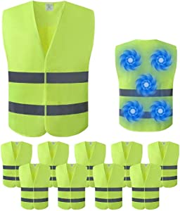 Mintiant 10 Pack Reflective High Visibility Safety Vest, Cooling Vest, Ice Vest, High Reflective Visible Silver Strip,free Ice packs,Volunteer, Guard, Construction Protector with Zipper (Large)