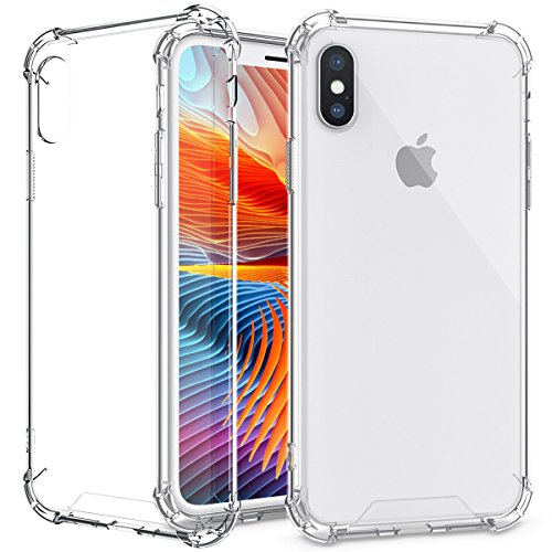 iPhone X Case, Amuoc Crystal Clear Cover Case [Shock Absorption] with Transparent Hard Plastic Back Plate and Soft TPU Gel Bumper-Clear (Plastic Parts Shock)
