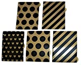 Carolina Pad Studio C Set of 5 Tab Dividers with 1 Pocket ~ Date Night (Gold Hearts, Diagonal Stripes, Black Polka Dots)