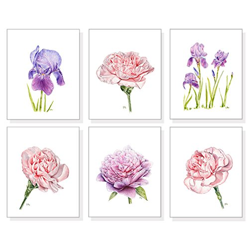 Flower Art Prints Set of 6, Floral Wall Art, Botanical Wall Decor, Flower Watercolors Iris