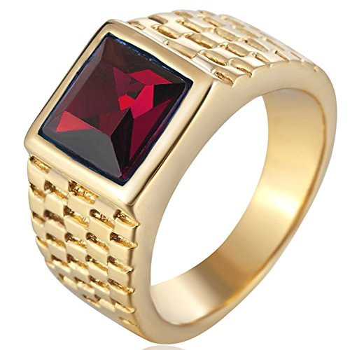 - SAINTHERO Men's Classic Stainless Steel Wedding Band Rings Created Princess Gemstone Rings Gold&Red Size 7