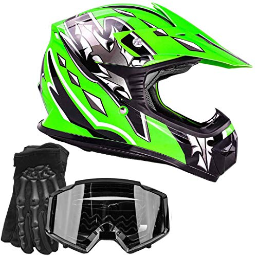 Youth Kids Offroad Gear Combo Helmet Gloves Goggles DOT Motocross ATV Dirt Bike Motorcycle Green Black, X-Large ()
