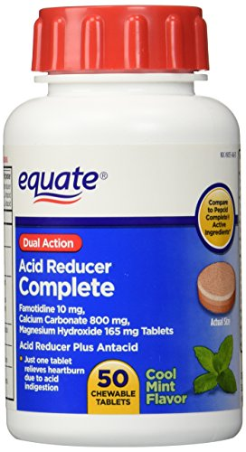 Equate - Acid Reducer Complete 50 Chewable Tablets, Cool Mint Flavor, Compare to Pepcid Complete