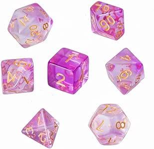 GWHOLE 7 Piezas Dados Poliédricos Dados para Juegos de rol y Mesa Dungeons y Dragons DND RPG MTG con Bolsa Negra (Transparente Violeta Claro): Amazon.es: Juguetes y juegos