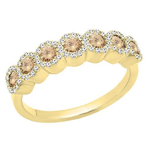 (Dazzlingrock Collection 0.83 Carat (ctw) 14K Round Champagne & White Diamond Ladies Wedding Band, Yellow Gold, Size)