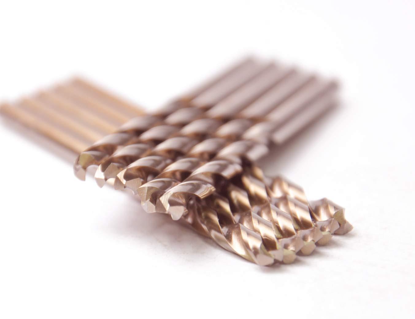 """10 Pcs Pack 5/32"""" Inch M35 HSS Cobalt Drill Bit Jobber Length Drill Bits Twist Drill Bits 135 Deg. Split Point Drilling Steel, Meteal, Iron."""
