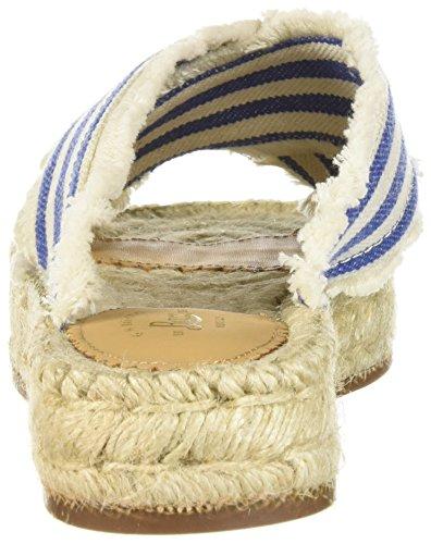 Riemen Sandalen Frauen Knoechel Blue Ivory Offener Leger Zeh qwCTqf6