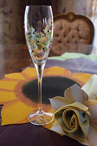Crystal Fall Wedding Champagne Flutes, Hand Painted and Embellished with Swarovski Crystals. Set of 2 by Wedding Champagne Flutes
