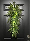 Extra Large Succulent & Fern Teardrop Swag Wreath for Front Door Porch Patio Indoor Outdoor Wall Home Decor Accent Piece Year Round All Seasons Spring Summer Summertime Rustic Farmhouse, Handmade, 36''