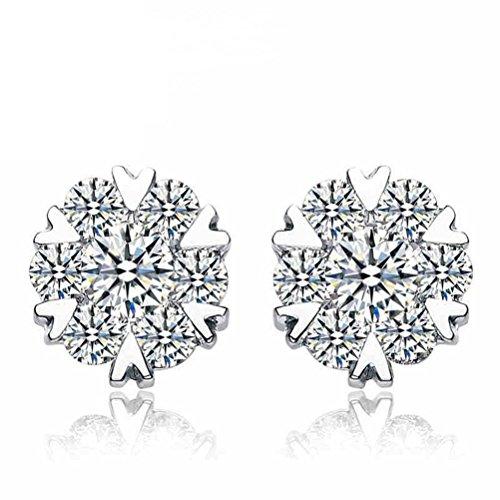 Erica 925 Boucles d'oreilles en forme de flocon de neige en argent Cadeau parfait pour les femmes Filles Hypoallergénique