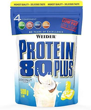 Weider Protein 80 Plus, Proteina de suero de suero de leche, Sabor Coco, 500 gr