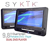 "Sykik 9.8"" Dual screen, dual DVD player. Both W/ built-in rechargeable battery. Play single or different DVDs. For use in car , home or on the go. Region free for worldwide use."