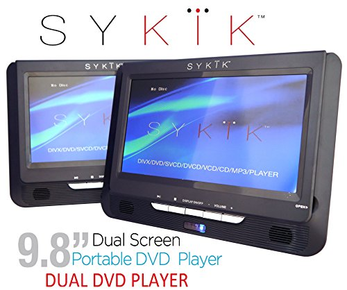 "Sykik 9.8"" Dual screen, dual DVD player. Both W/ built-in"