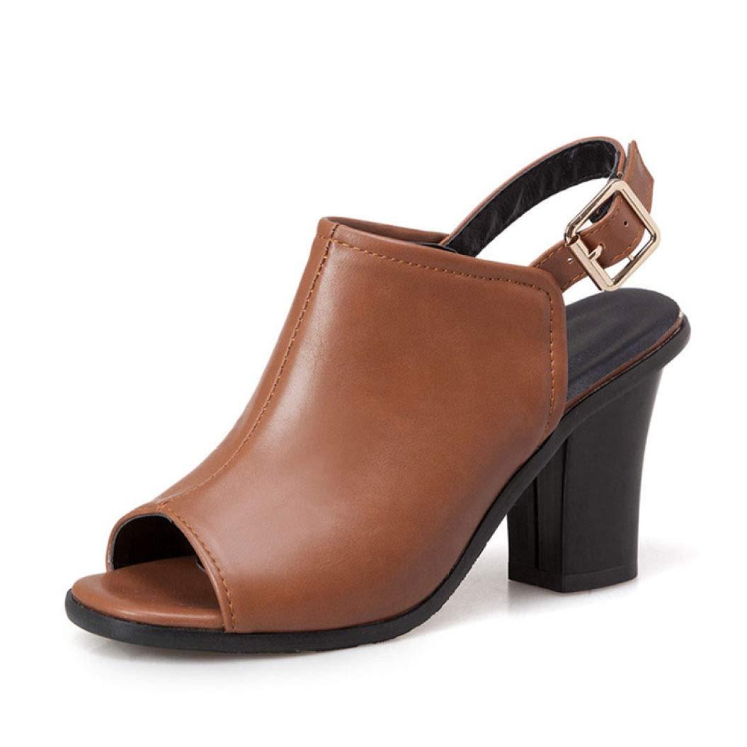Brown MEIZOKEN Women's Chunky Heel Ankle Strap Sandals Retro Peep Toe Slingback High Heel Party Pump Sandal