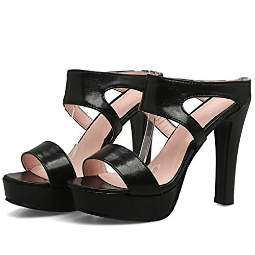 TAOFFEN Women Fashion Platform Open Toe Slipper Sandals Block High Heel Shoes Black DBKaOU