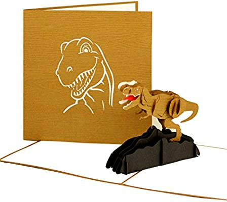 3D Pop Up Card Dinosaur Tyrannosaurus Rex T Birthday Folding Handmade Greeting For Childs