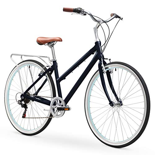 sixthreezero Explore Your Range Women's 7-Speed Hybrid Commuter Bicycle, Navy, 17
