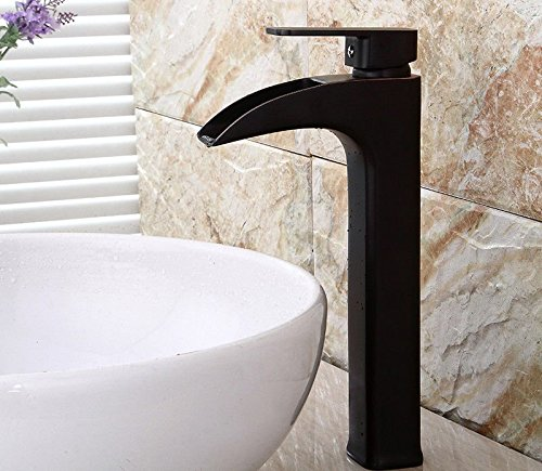 SADASD European Bathroom Basin Faucet Copper Retro Waterfall Black Bronze Heightening Washbasin Sink Taps Ceramic Valve Single Hole Single Handle Hot and Cold Mixer Tap With G1 2 Hose